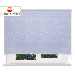 Рулонные шторы Люкс. Сакура голубой